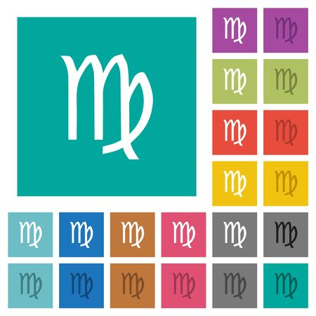 virgo zodiac symbol multi colored flat icons on plain square backgrounds. Included white and darker icon variations for hover or active effects.