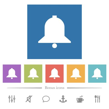Single bell flat white icons in square backgrounds. 6 bonus icons included.