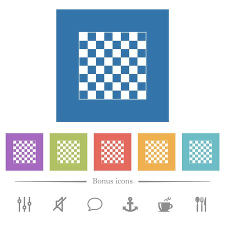 Chess board flat white icons in square backgrounds. 6 bonus icons included.