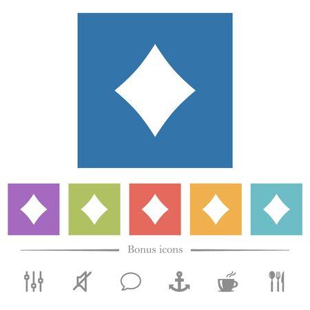 Diamond card symbol flat white icons in square backgrounds. 6 bonus icons included. Illusztráció