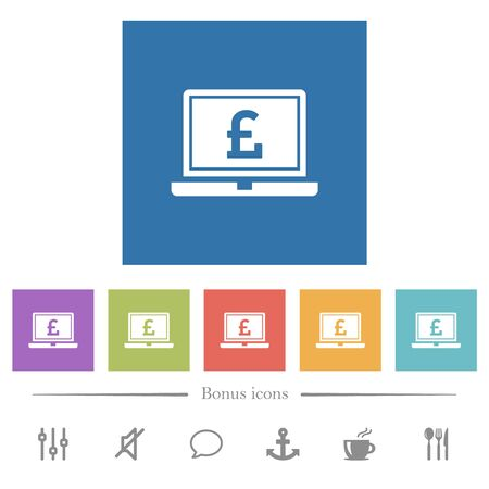 Laptop with Pound sign flat white icons in square backgrounds. 6 bonus icons included.