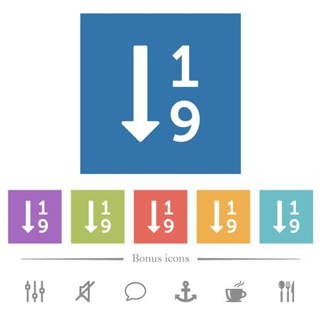 Ascending numbered list flat white icons in square backgrounds. 6 bonus icons included.