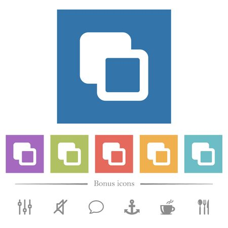 Subtract shapes flat white icons in square backgrounds. 6 bonus icons included.