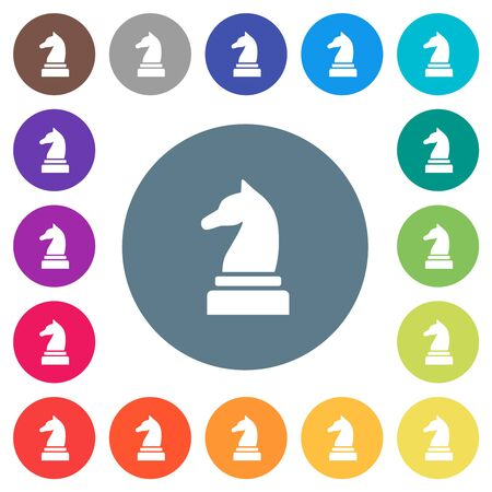 Black chess knight flat white icons on round color backgrounds. 17 background color variations are included.