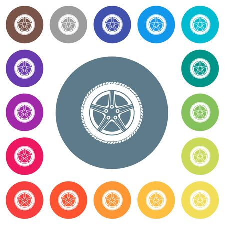 Car wheel flat white icons on round color backgrounds. 17 background color variations are included.