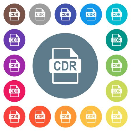 CDR file format flat white icons on round color backgrounds. 17 background color variations are included.
