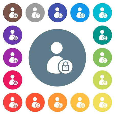 Lock user account flat white icons on round color backgrounds. 17 background color variations are included.