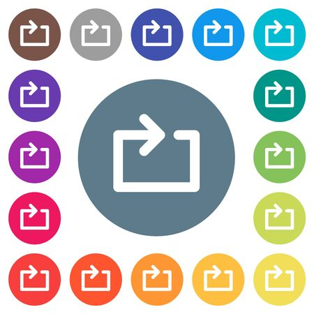 Media loop flat white icons on round color backgrounds. 17 background color variations are included. Illusztráció