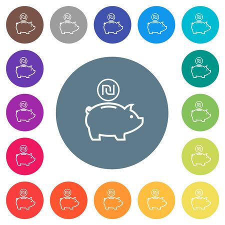 Israeli new Shekel piggy bank flat white icons on round color backgrounds. 17 background color variations are included. Illusztráció