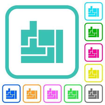 Tetris game vivid colored flat icons in curved borders on white background