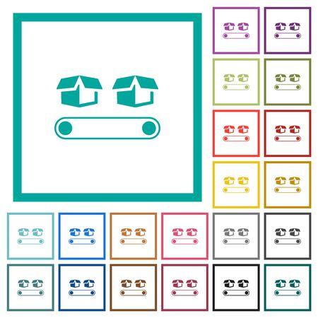 Conveyor with boxes flat color icons with quadrant frames on white background Illusztráció