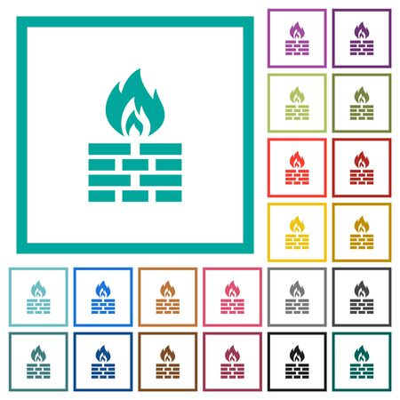 Firewall flat color icons with quadrant frames on white background