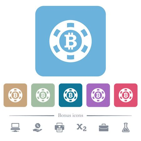 Bitcoin casino chip white flat icons on color rounded square backgrounds. 6 bonus icons included