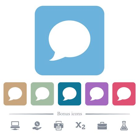 Blog comment bubble white flat icons on color rounded square backgrounds. 6 bonus icons included