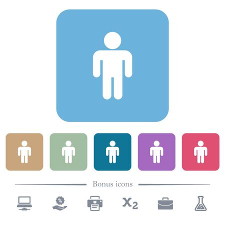 Male sign white flat icons on color rounded square backgrounds. 6 bonus icons included