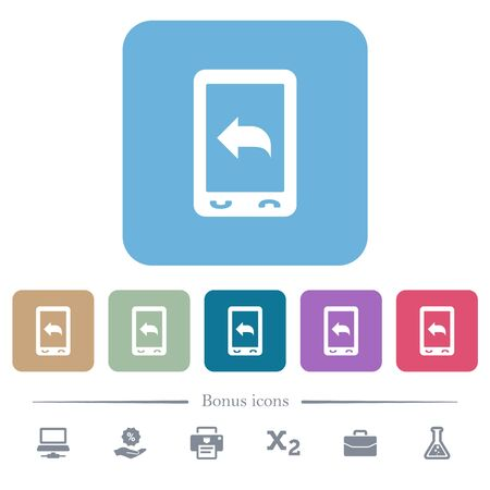 Reply to mobile message white flat icons on color rounded square backgrounds. 6 bonus icons included Illusztráció