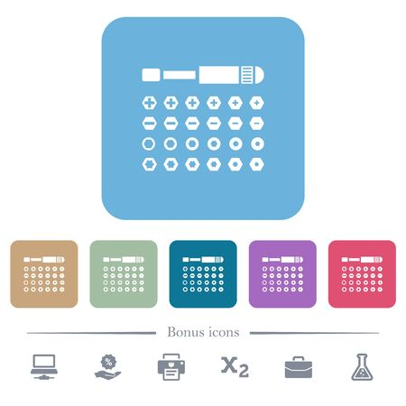 Set of screwdriver bits white flat icons on color rounded square backgrounds. 6 bonus icons included