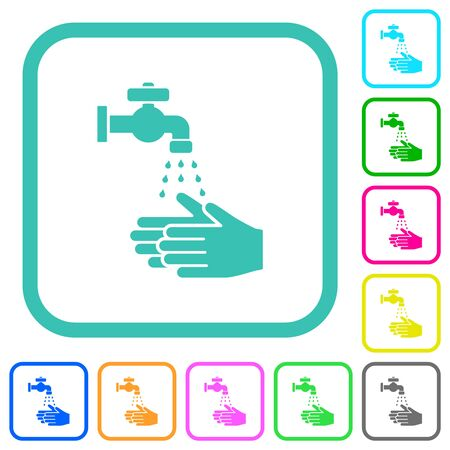 Hand washing vivid colored flat icons in curved borders on white background Illusztráció