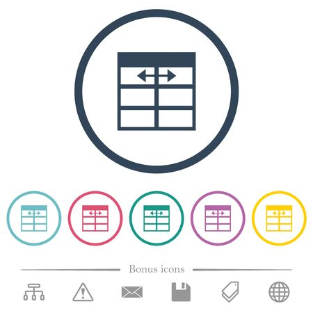 Spreadsheet adjust table column width flat color icons in round outlines. 6 bonus icons included.
