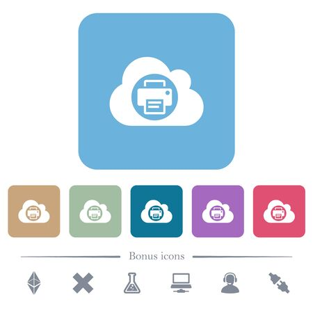 Cloud printing white flat icons on color rounded square backgrounds. 6 bonus icons included 版權商用圖片 - 134671883