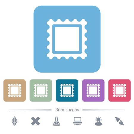 Postal stamp white flat icons on color rounded square backgrounds. 6 bonus icons included