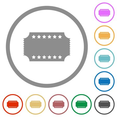 Ticket with stars flat color icons in round outlines on white background