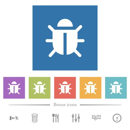Computer bug flat white icons in square backgrounds. 6 bonus icons included. Ilustração