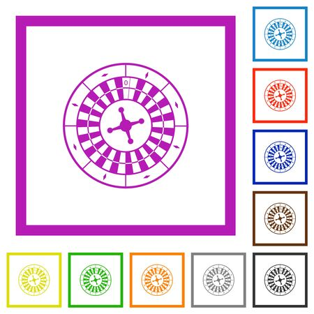 Roulette wheel flat color icons in square frames on white background