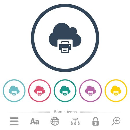 Cloud printing flat color icons in round outlines. 6 bonus icons included.