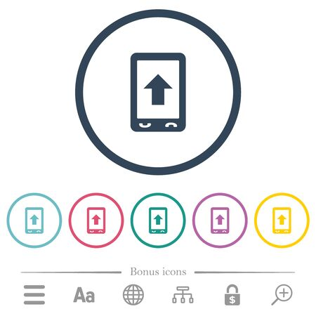 Mobile scroll up flat color icons in round outlines. 6 bonus icons included.