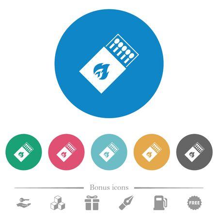 Box of matches flat white icons on round color backgrounds. 6 bonus icons included. Ilustração