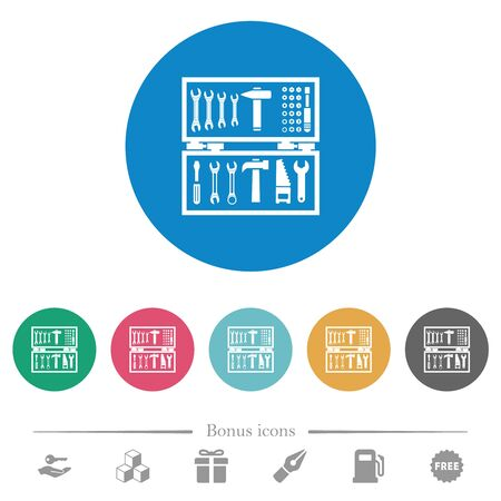 Open toolbox flat white icons on round color backgrounds. 6 bonus icons included.
