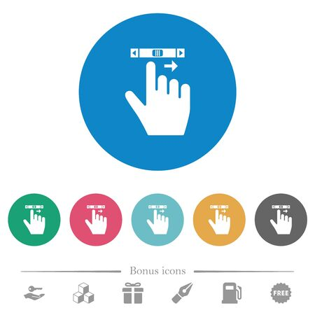 right handed scroll right gesture flat white icons on round color backgrounds. 6 bonus icons included.