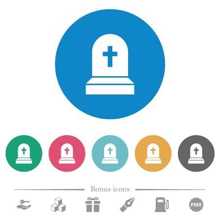 Tombstone with cross flat white icons on round color backgrounds. 6 bonus icons included.