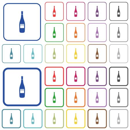 Wine bottle with label color flat icons in rounded square frames. Thin and thick versions included. Ilustração