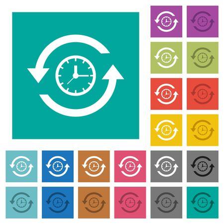 Historia iconos planos multicolores sobre fondos cuadrados lisos. Se incluyen variaciones de íconos blancos y más oscuros para efectos de desplazamiento o activos.