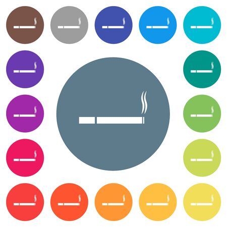 Cigarette flat white icons on round color backgrounds. 17 background color variations are included. 向量圖像