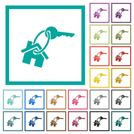 House key flat color icons with quadrant frames on white background