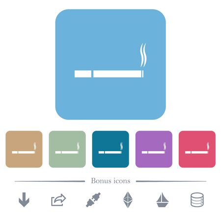 Cigarette white flat icons on color rounded square backgrounds. 6 bonus icons included