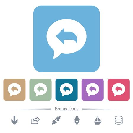 Reply message white flat icons on color rounded square backgrounds. 6 bonus icons included