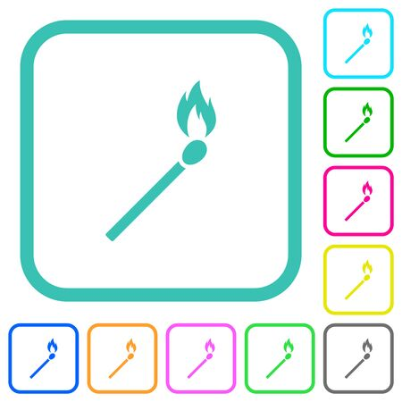 Matchstick vivid colored flat icons in curved borders on white background Illustration
