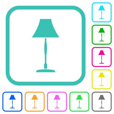 Standing lampshade vivid colored flat icons in curved borders on white background Banque d'images - 135928515
