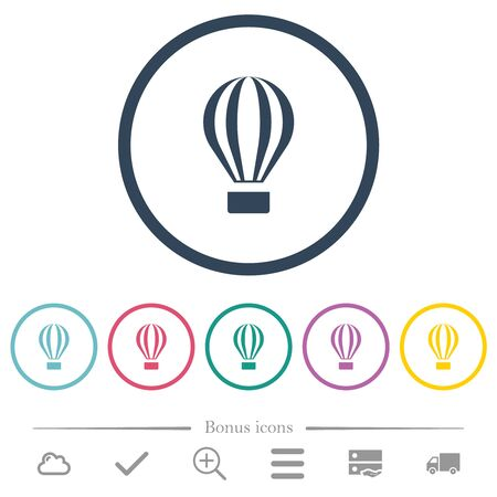 Air balloon flat color icons in round outlines. 6 bonus icons included.