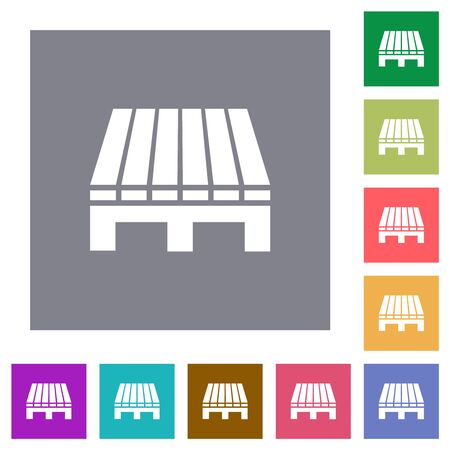 Iconos planos de una sola paleta sobre fondos cuadrados de colores simples