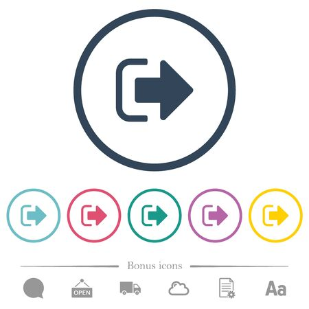 Sign out flat color icons in round outlines. 6 bonus icons included.