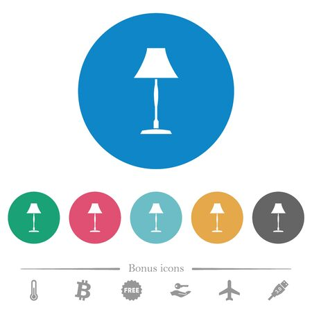Standing lampshade flat white icons on round color backgrounds. 6 bonus icons included.