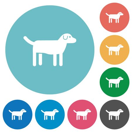Dog flat white icons on round color backgrounds