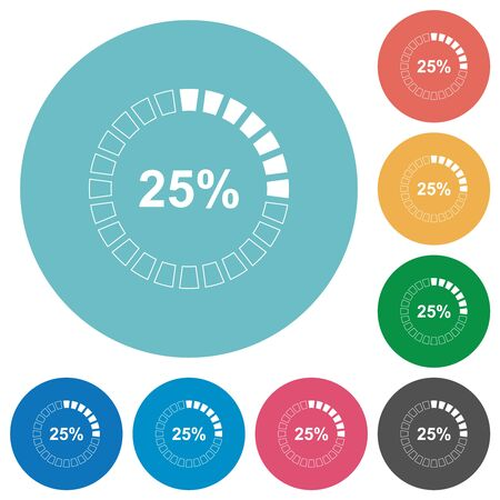 25 percent loaded flat white icons on round color backgrounds Ilustrace