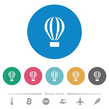 Air balloon flat white icons on round color backgrounds. 6 bonus icons included.
