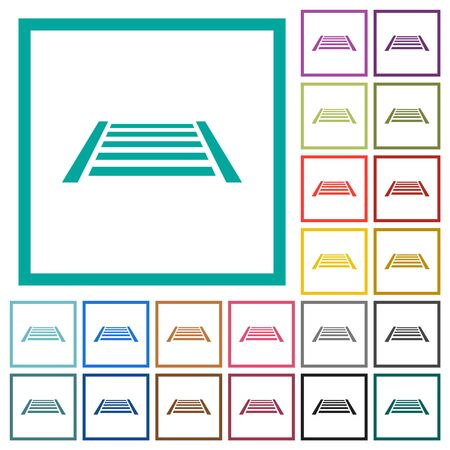 Railway flat color icons with quadrant frames on white background Иллюстрация